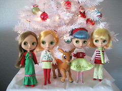 posing with Rudolph (merwing✿little dear) Tags: christmas red white holiday tree cute green up fun toy doll play dress decoration ornaments blythe merry greeting