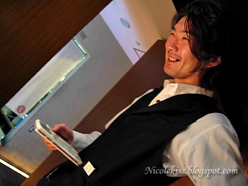 waiter smiling