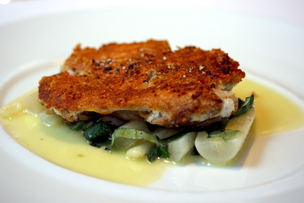 Parmesan Crusted Confit Leg of Chicken, Salsify, Basil and Lemon Butter