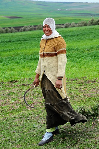 Girl with sickle in the Moroccan fields