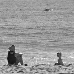 Leeza and Rocco at the Beach (Gene Fama) Tags: ocean sea blackandwhite bw beach sand outdoor dolphin malibu pointdume pacificocean shore squareformat rocco leeza porpoise malibubeach fakemediumformat canonef85mmf12lii californiashore