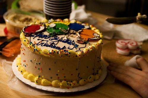 cake!  partially sliced