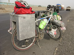 Cycle touring, Chinese style, near Dabancheng, Xinjiang Province, China