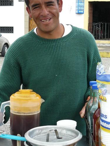 Juan and his aloe vera drink