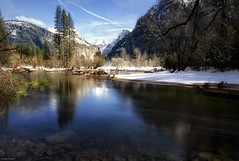 Flowing Merced (Dan_Fr) Tags: trees landscape mountain winter outdoor water river snow valley longexposure cliff peak flowing neutraldensity filter nd yosemite us usa california merced halfdome sony a7r