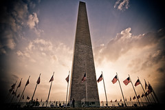 Washington Monument (code poet) Tags: sunset sky monument topv111 clouds landscape dc washington topv333 flag 100v10f obelisk washingtonmonument 1022mm starsandstripes anawesomeshot