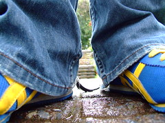 It's a Lowdown Dirty Shame || Day 279 of 365 Days (Darkle) Tags: blue yellow jeans runners lowdown moo1 365days darkle flickrgrouproulette itsalowdowndirtyshame
