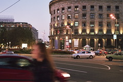 Belgrado,building,evening,light,walking,car