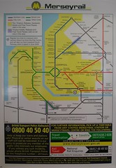 Map of the Merseyrail System, Liverpool and Merseyside, England