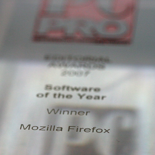 PCPro Software of the year 2007 award for Mozilla Firefox