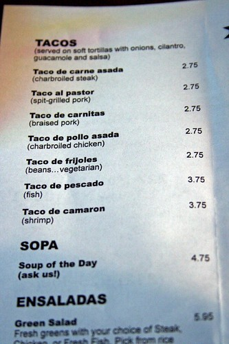 Taco section of the current menu