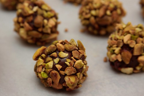 bourbon truffles with pistachio topping