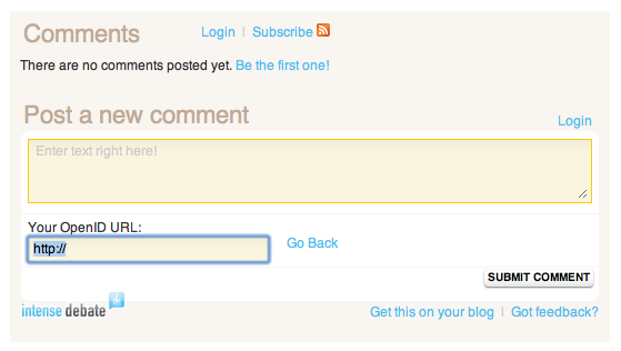 OpenID comment form