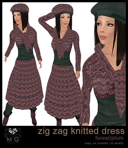 [MG fashion] Zig zag knitted dress (forest/plum)