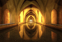 The royal baths (Man) Tags: world light reflection heritage water yellow spain bath seville unesco fisheye alcazar hdr rectilinear 3xp defished manuperez