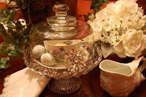 tea cup under glass