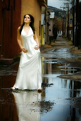Somer in a long white dress in a wet alley somewhere in Miami, Arizona, version 2 (Just Fab) Tags: woman sexy girl fashion model heels gown