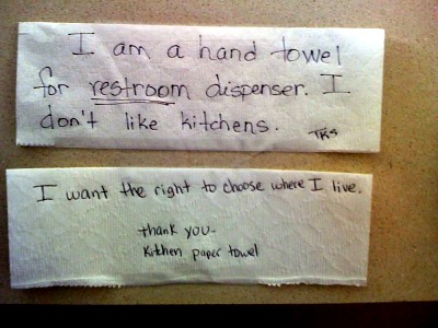 I am a hand towel for RESTROOM dispenser. I don't like kitchens. I want the right to choose where I live. Thank you - Kitchen paper towel
