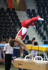 Fabian Leimlehner - pommel horse 3 (roflmeter) Tags: red male college sports muscle ripped young hunk gymnast gymnastics fabian gym defined parallelbar pommelhorse highbar artisticgymnastics stillrings fabianleimlehner leimlehner