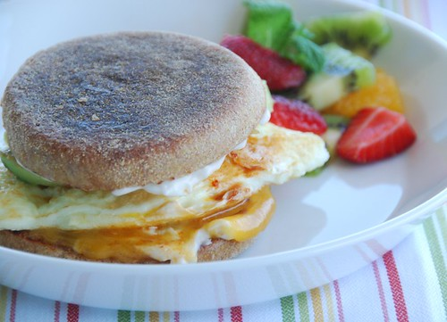 breakfast sandwich with eggs, cheddar, and chipotles chilis