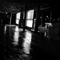 "Ljubljana (Peter Gutierrez) Tags: photo europe european eastern republic slovenia slovenian slovenians republika slovenija ljubljana city urban street people person square format black white bw night evening dark contrast contrasty shadow shadows shadowy peter gutierrez ""peter gutierrez"" petergutierrez reflexions nocturne nocturnal nacht notte noche nuit sidewalk pavement public film photograph photography"