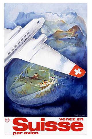 Suisse par avion vintage travel poster