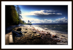 Stanley Park Seawall (Clayton Perry Photoworks) Tags: ocean trees sky mist canada storm beach water wall vancouver clouds canon rocks waves bc wind britishcolumbia windy seawall stanleypark hdr windstorm stanleyparkseawall canonphotography