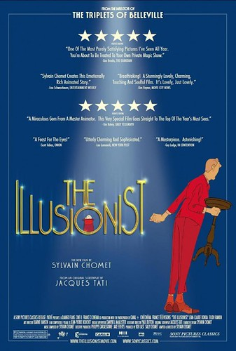 """The Illusionist"" USA poster, via beachtheatre.com: dark blue background with a spotlight on the yellow title ""THE ILLUSIONIST."" A white rabbit is hiding in the ""O,"" and an old man in a red suit is standing to the right, holding a stool and apparently loo"
