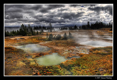 Nature's Chemistry Set (James Neeley) Tags: landscape bravo yellowstonenationalpark soe hdr hotpools themoulinrouge geyserbasin 5xp flickrsbest shieldofexcellence jamesneeley thermophile theperfectphotographer thermusaquaticus