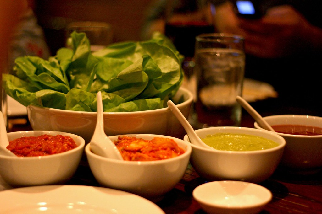 Bibb lettuce and condiments