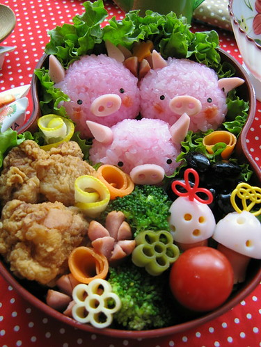 three pigs bento box by luckysundae.