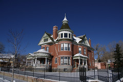 George Ferris Mansion, Rawlins, Wyoming (Thad Roan - Bridgepix) Tags: blue sky house snow architecture queenanne victorian historic mansion wyoming rawlins carboncounty nationalregisterofhistoricplaces nrhp skyarchitecture 200712 ferrismansion 82001831
