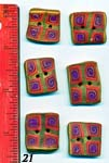 Set of 6 Gold Rainbow Square Polymer Buttons
