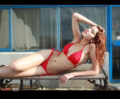 Sexy Red Bikini Model is Cute girl