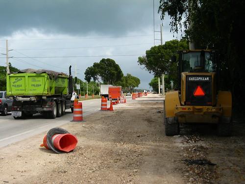 Road works along side US1 Highway near Key Largo, Florida, USA