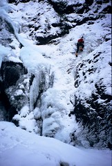 Steve Cedarvale (Dru!) Tags: winter canada cold ice climb frozen waterfall bc britishcolumbia climbing solo climber iceclimbing lillooet crampons iceclimber fujisensia100 cedarvale soloist bridgeriver stemalot icetools pentaxzoom90wr sololing cedarvalefalls