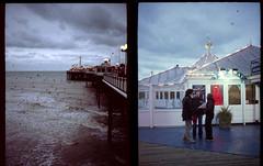 The Birds (-RobW-) Tags: sea film beach birds sussex pier diptych brighton brightonpier palacepier superia200 fujicahalf
