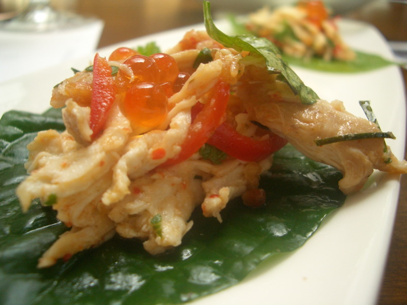 Betel Leaf with Spanner Crab, Chicken, Salmon Roe, Peanuts