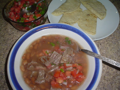 Frijoles y arrachera
