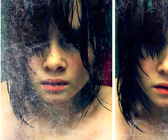 lstbreath (bye bye ) Tags: selfportrait colors crazy diptych tears alone shadows sad looking expression girly empty grunge praying crying textures dirt messy stare lonely afraid scared waterdrops staring emotions soulless brightness dripping wethair feelings 2007 hopeful coldness