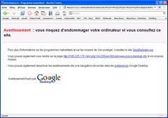 Site malicieux déjoué par Google Desktop