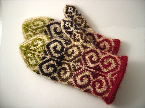 Finished Fiddlehead Mittens