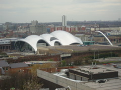 the Sage Gateshead and the Gateshead Millenium Bridge, as seen from Level 7 of the Trinity Centre car park