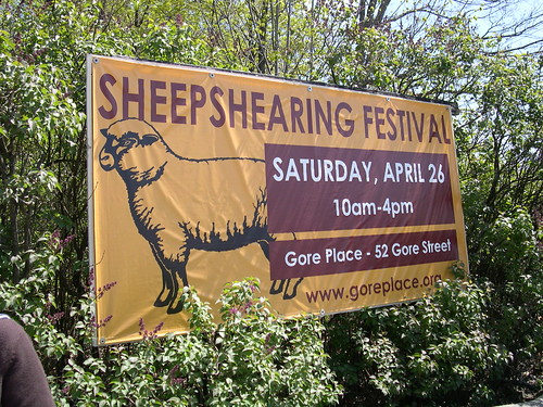 Sign for sheep shearing festival
