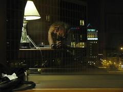 Se regarder... (Robert Saucier) Tags: selfportrait reflection building window lamp architecture night lampe bedroom autoportrait retrato noflash explore nuit fentre 10faves spaw img1860
