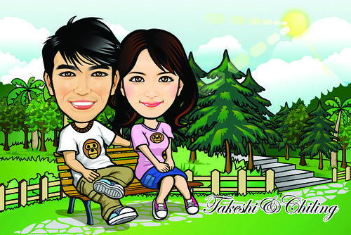 Q Digital Caricature Garden Theme Drawing
