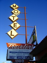 Travellers Motel sign 1100 Fremont St East, Las Vegas (stevesobczuk) Tags: vegas sign vintage downtown neon lasvegas nevada travellers motel fremont 1956 atomic stillstanding