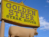 Golden Steer Steak House (jericl cat) Tags: sky house sign yellow bulb restaurant golden lasvegas nevada plastic steak steer calf