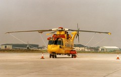 Royal Canadian Air Force helicopter at Manston, Kent. (scn201) (Robert G Henderson (Romari).) Tags: england film 35mm print kent canadian scan helicopter manston