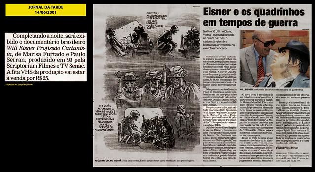 """""""Eisner e os quadrinhos em tempos de guerra"""" - Jornal da Tarde - 14/06/2001"""